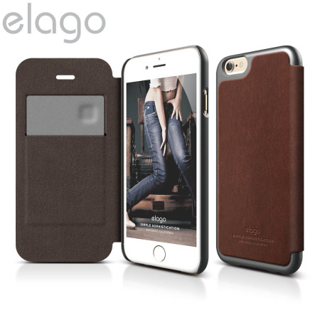 elago leather flip case for iphone 6 - metallic grey and brown