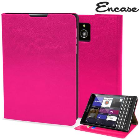 Encase Leather-Style BlackBerry Passport Wallet Case - Hot Pink