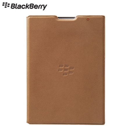Official BlackBerry Passport Leather Flip Case - Brown