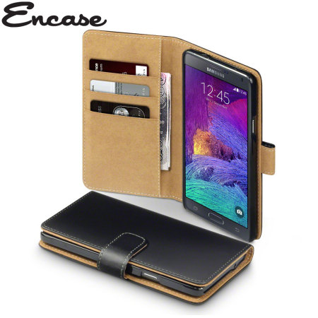 quality design 66ace 967be Encase Samsung Galaxy Note 4 Leather-Style Wallet Case - Black / Tan
