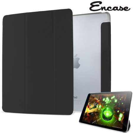 Encase Transparent Shell iPad Air 2 Folding Stand Case - Black