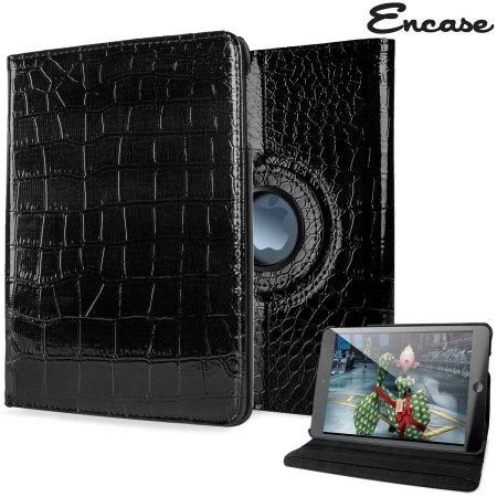 Encase Alligator Pattern Rotating iPad Mini 3 / 2 / 1 Case - Black