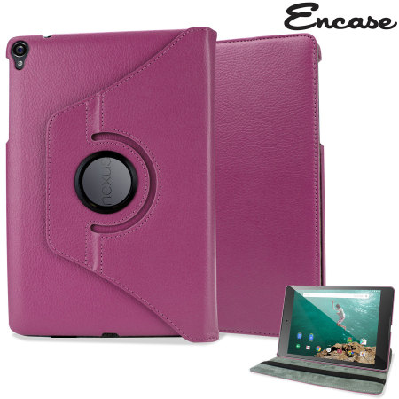 Encase Leather-Style Rotating Google Nexus 9 Case - Purple
