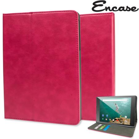 Encase Leather-Style Google Nexus 9 Wallet Stand Case - Pink
