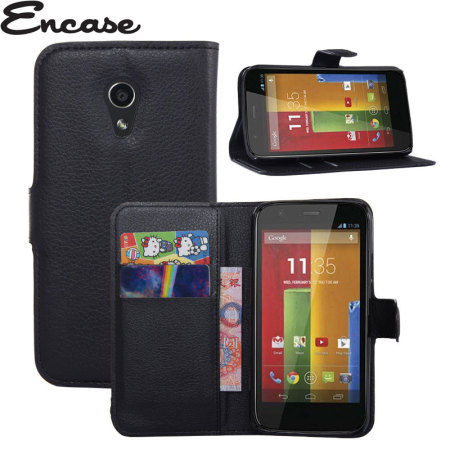 Encase Moto G 2nd Gen Leather-Style Wallet Case - Black