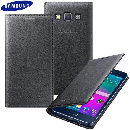 Official Samsung Galaxy A3 2015 Flip Cover - Charcoal