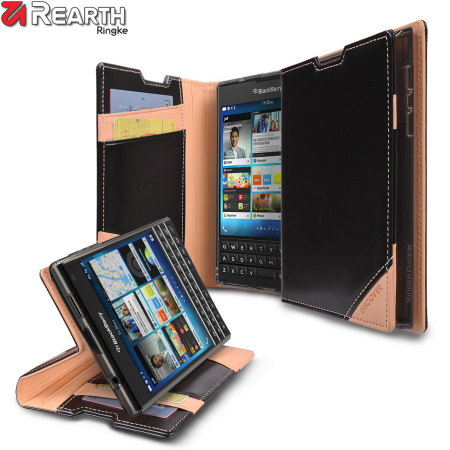 Rearth Ringke Discover BlackBerry Passport Leather Wallet Case - Black