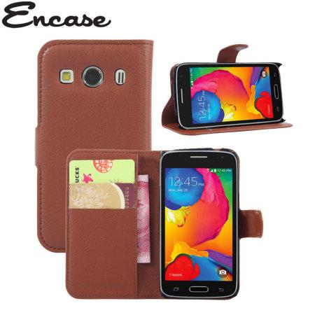 Encase Samsung Galaxy Core 4G Wallet Case - Brown