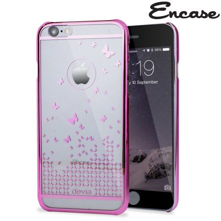 Butterfly iPhone 6S / 6 Shell Case - Rose Pink / Clear