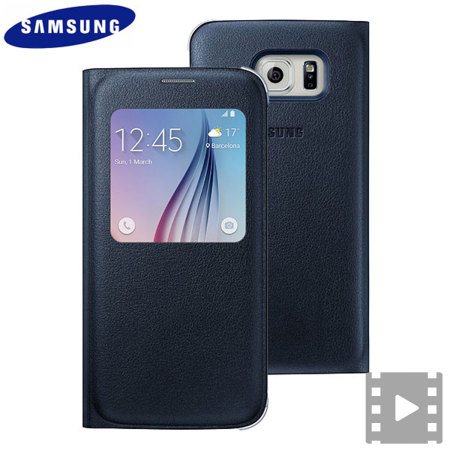 uk availability 2d626 9bd10 Official Samsung Galaxy S6 S View Premium Cover Case - Blue and Black