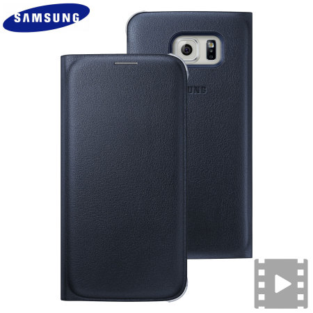 low priced ad588 23cd5 Official Samsung Galaxy S6 Flip Wallet Cover - Blue / Black