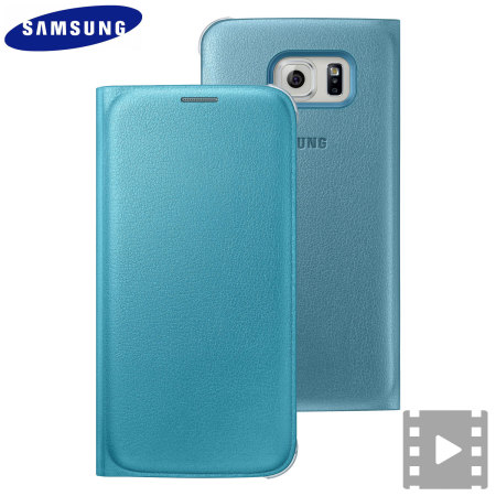 Official Samsung Galaxy S6 Flip Wallet Cover - Blue