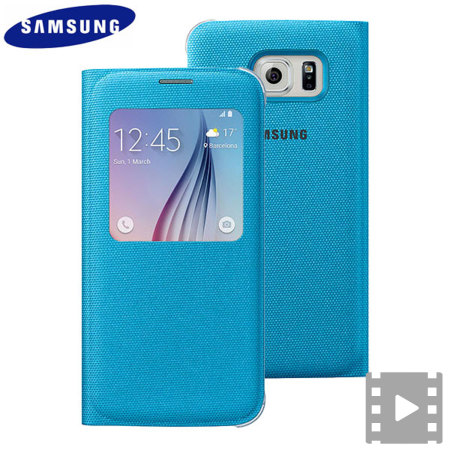 Official Samsung Galaxy S6 S View Fabric Premium Cover Case - Blue