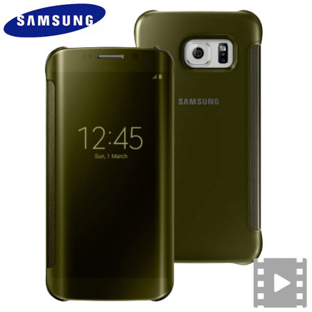 24843dcff9 Official Samsung Galaxy S6 Edge Clear View Cover Case - Gold