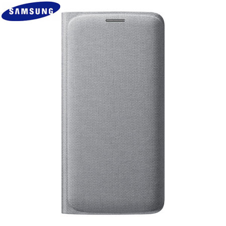 Official Samsung Galaxy S6 Edge Flip Wallet Fabric Cover - Silver