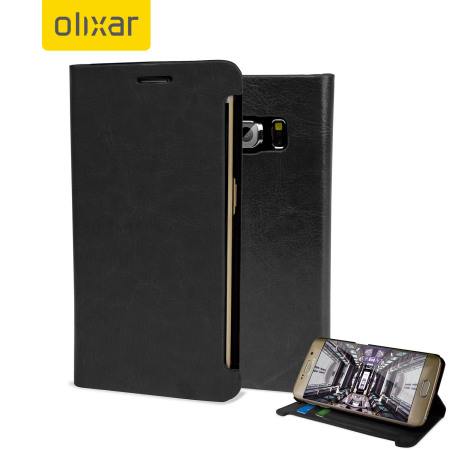 Olixar Leather-Style Galaxy S6 Edge Wallet Stand Case - Black