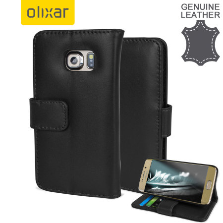 Olixar Genuine Leather Samsung Galaxy S6 Edge Wallet Case - Black