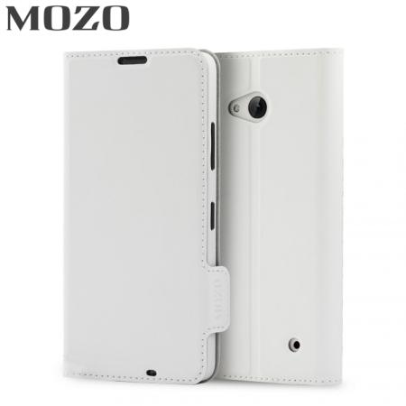 Mozo Classic Leather Style Microsoft Lumia 640 Wallet Case - White
