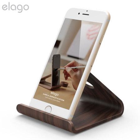 elago w2 universal wooden smartphone tablet desk stand. Black Bedroom Furniture Sets. Home Design Ideas