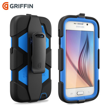 coque samsung galaxy s6 griffin survivor tout terrain noire bleue. Black Bedroom Furniture Sets. Home Design Ideas