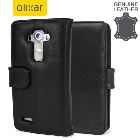 Olixar Premium Genuine Leather LG G4 Wallet Case - Black
