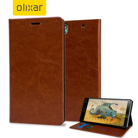 Olixar Leather-Style Sony Xperia C4 Wallet Stand Case - Light Brown
