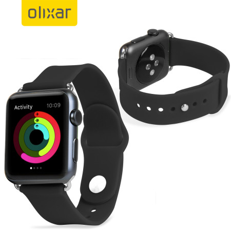 Olixar Silicone Rubber Apple Watch 2 / 1 Sport Strap - 42mm - Black