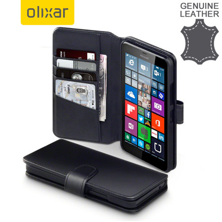 Olixar Genuine Leather Microsoft Lumia 640 XL Wallet Case - Black