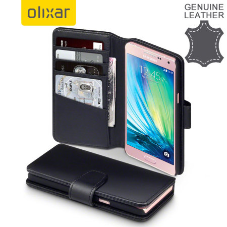Olixar Genuine Leather Samsung Galaxy A5 2015 Wallet Case - Black
