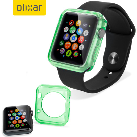 Olixar Soft Protective Apple Watch 2 / 1 Case - 42mm - Green/Clear