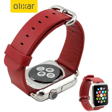Olixar Genuine Leather Apple Watch Series 2 / 1 Strap - 42mm - Red