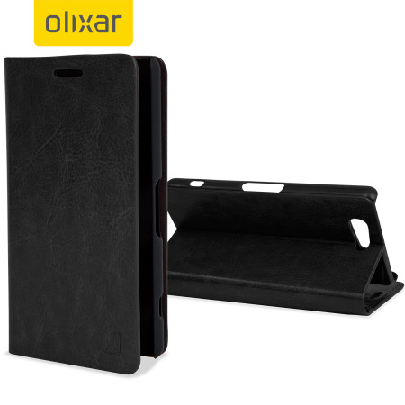 Olixar Leather-Style Sony Xperia A4 Wallet Stand Case - Black