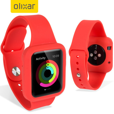 sports shoes 27fcf 36f2f Olixar Silicone Apple Watch 3 / 2 / 1 Sport Strap with Case - 38mm - R