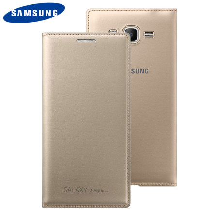 Official Samsung Galaxy Grand Prime Flip Wallet Cover - Gold