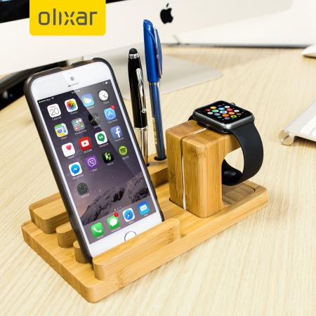 Olixar Charging Apple Watch Wooden Desk Stand with iPhone & iPad Dock