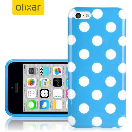 Polka Dot FlexiShield iPhone 5C Gel Case - Blue