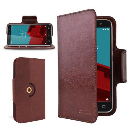 Encase Leather-Style Vodafone Smart Prime 6 Wallet Case - Brown