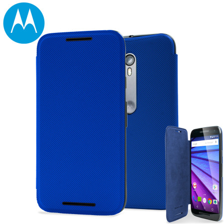reputable site 1846b f90c2 Official Motorola Moto G 3rd Gen Flip Shell Cover - Blue