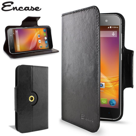 Encase Rotating Leather-Style ZTE Blade D6 Wallet Case - Black