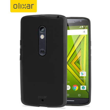 FlexiShield Motorola Moto X Play Gel Case - Smoke Black