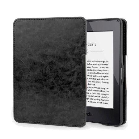 Housse kindle paperwhite folio olixar style cuir noire for Housse kindle paperwhite