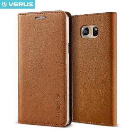 Verus Samsung Galaxy Note 5 Genuine Leather Wallet Case - Brown