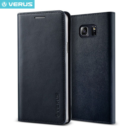 Verus Samsung Galaxy Note 5 Genuine Leather Wallet Case - Navy