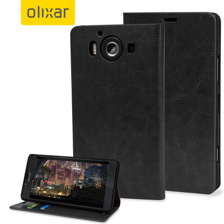 Olixar Leather-Style Microsoft Lumia 950 Wallet Case - Black