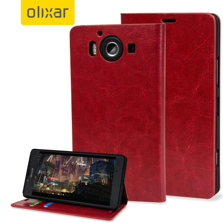 Olixar Leren-Style Microsoft Lumia 950 Wallet Case - Rood