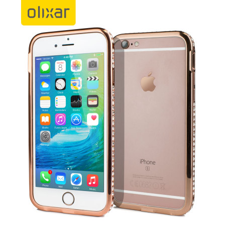new style f870f 75c29 Olixar Crystal Bling iPhone 6S / 6 Metal Bumper Case - Rose Gold