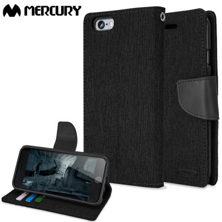 Mercury Canvas Diary iPhone 6S / 6 Wallet Case - Black / Black