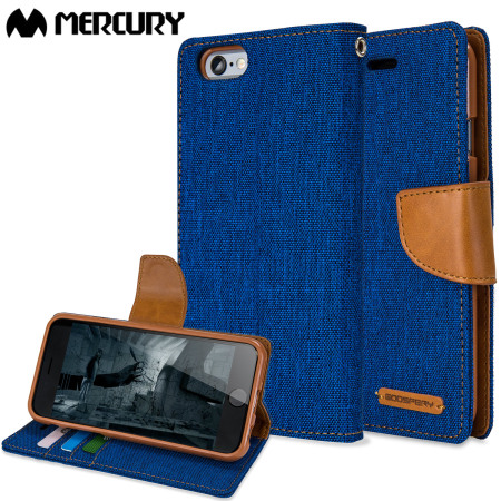 fa7dac4ea33 Mercury Canvas Diary iPhone 6S Plus   6 Plus Wallet Case - Blue Camel