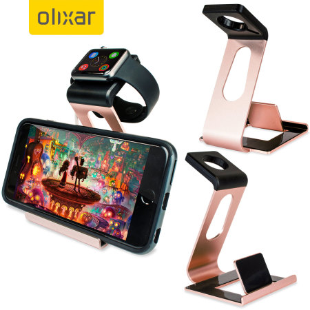 Aluminium Apple Watch 2 / 1 Stand with iPhone Holder - Rose Gold