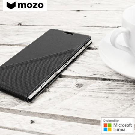 quality design 5ed5e 3ff8c Mozo Microsoft Lumia 950 XL Genuine Leather Flip Cover - Black